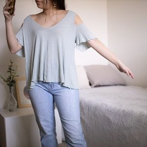 Free People Light Blue Green Cut Out Sleeve Top